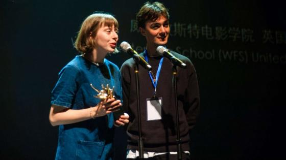 Graduates receiving Best Sound award for 'Audrey and the Rocket' in Beijing