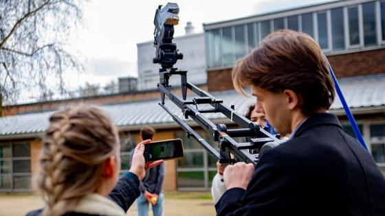 1st year students shooting final drama on 16mm Bolex cameras with a crane rig
