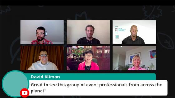 Screenshot of panellists on online webinar about the impact of COVID-19 on the events industry
