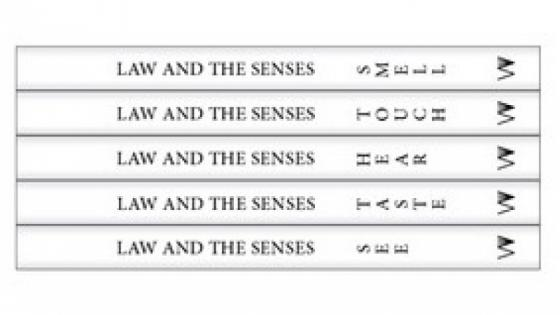 five white books stacked on top of each other with the five senses as titles