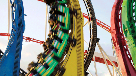 Motion blur of a roller coaster