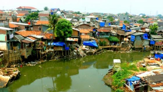 Poverty housing along the river.