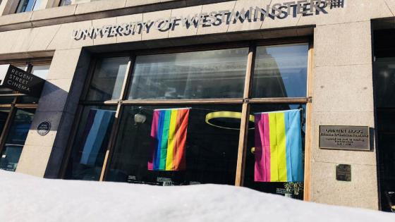 Rainbow flags hanging up at Regent Street campus