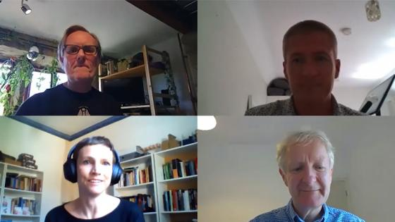 Screenshot of panellists including Dr Rachel Aldred on walking and cycling webinar