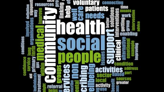 Word frequency collage, with the words 'health', 'community', 'social' and 'people'.