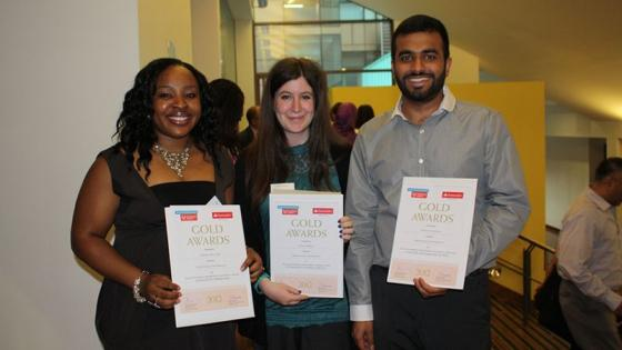 Three Westminster students with Gold Award certificates