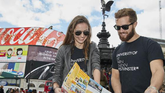 Students at Piccadilly Circus