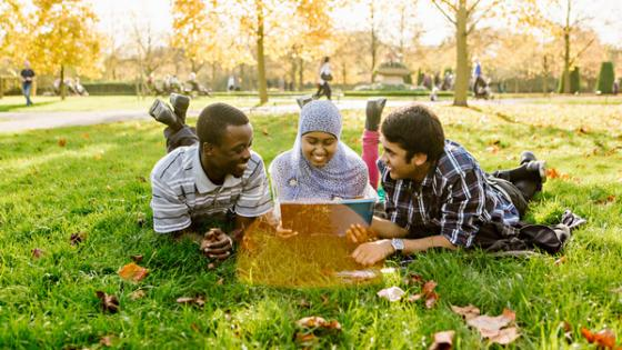 Students on the grass with laptop