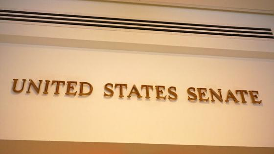 A sign with the words 'United States Senate'