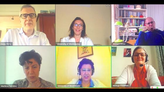 Screenshot of academics on video call during virtual cancer symposium